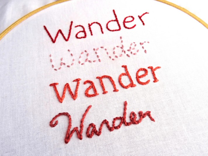use hand stitch to embroidery letters