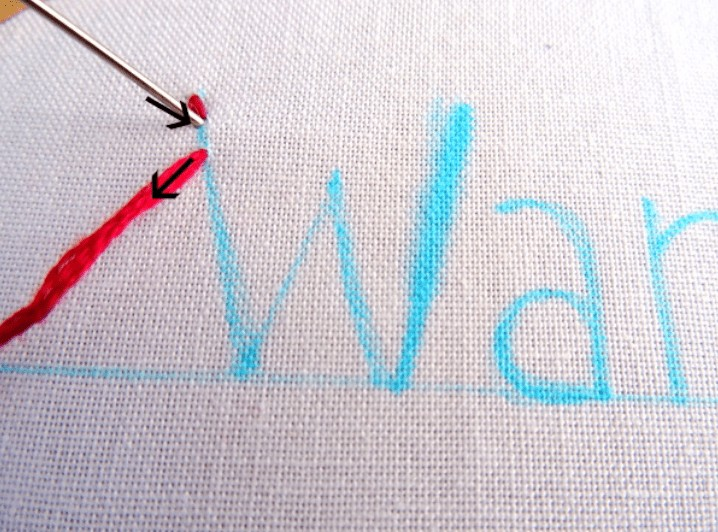 sew letters on fabric by hand