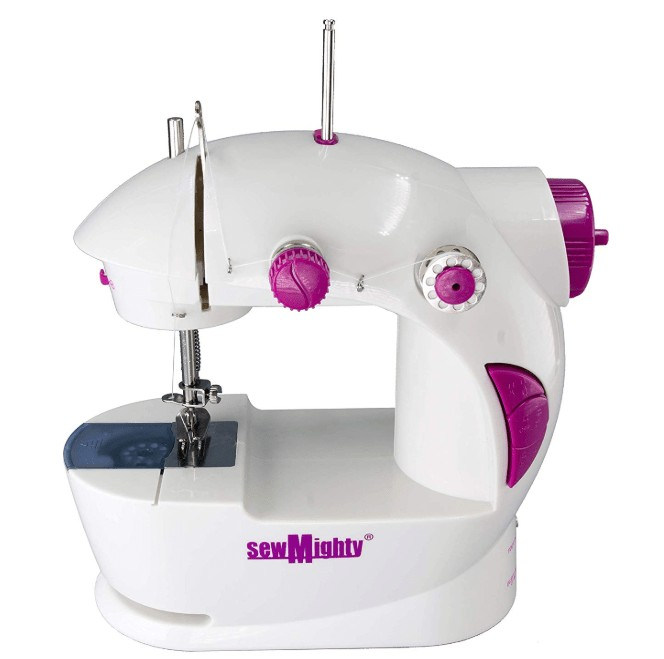 young girls sewing machine